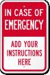 Custom In Case Of Emergency Label, Add Own Instructions