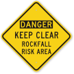 Keep Clear Rockfall Risk Area Danger Sign