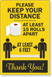Keep Your Distance At Least 15 Rolls Apart Sign Panel