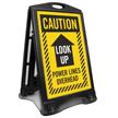 Look Up Power Lines Overhead Sidewalk Sign