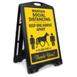 Maintain Social Distancing Keep 1 Horse Apart Sidewalk Sign
