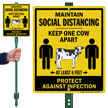 Social Distancing LawnBoss Sign
