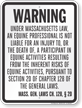 Massachusetts Equine Liability Sign