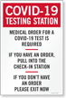 Medical Order for Test is Required Testing Site Sign