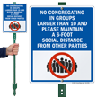 No Congregating In Groups LawnBoss Sign & Stake Kit