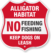 No Feeding Fishing Alligator Warning Shield Sign