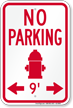 No Parking Around Fire Hydrant Sign