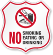 No Smoking Eating Or Drinking Shield Sign
