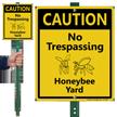 No Trespassing Honey Bee Yard Lawnboss Sign