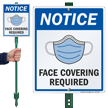 Notice Face Covering Required LawnBoss Sign & Stake Kit