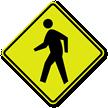 Pedestrian Crossing Symbol Fluorescent Diamond Grade School Sign