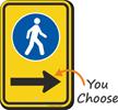 Pedestrian Crossing Sidewalk Sign With Arrow
