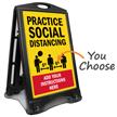 Practice Social Distancing Add Custom Instructions Sidewalk Sign