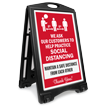 We Ask Customers To Practice Social Distancing BigBoss A-Frame Portable Sidewalk Sign