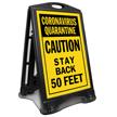 Quarantine Caution Stay Back 50 Feet Sidewalk Sign