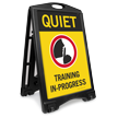 Quiet Training In Progress Sidewalk Sign