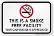 Smoke Free Facility Sign