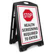Stop Health Screening Required To Enter Sidewalk Sign