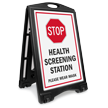 Stop Health Screening Station Wear Mask Sidewalk Sign