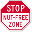 STOP Nut-Free Zone Peanut Allergy Sign