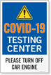 Testing Center Please Turn Off Car Engine Sign