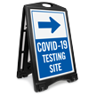 Testing Site Right Arrow Portable Sidewalk Sign
