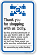 Thank You For Shopping With Us Today Sign