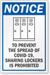 To Prevent The Spread Sharing Lockers Is Prohibited Sign Panel