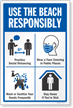 Use The Beach Responsibly Social Distancing Sign Panel