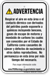 Vehicle Repair Facilities Spanish Prop 65 Sign