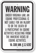 Virginia Equine Liability Sign