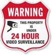 Warning 24 Hour Video Surveillance Shield Sign