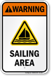 Warning Sailing Area Water Safety Sign