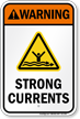 Warning Strong Currents Water Safety Sign