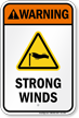 Warning Strong Winds Water Safety Sign
