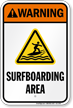 Warning Surfboarding Area Water Safety Sign