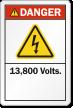 13,800 Volts ANSI Danger Label, Electric Shock Symbol