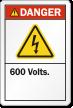 600 Volts ANSI Danger Label