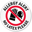 Allergy Alert No Latex Please Door Decal