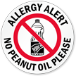 Allergy Alert No Peanut Oil Please Door Decal