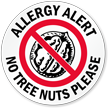 Allergy Alert No Tree Nuts Please Door Decal