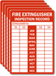 Fire Extinguisher Inspection Record, Set of 5 Labels