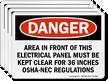 Electrical Panel Kept Clear OSHA-NEC Regulations Label
