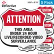 Area Under 24 Hour Video Surveillance Shield Label Set