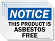 This Product Is Asbestos Free, OSHA Notice Label