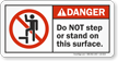 Do Not Step Or Stand On This Surface ANSI Danger Label