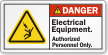 Electrical Equipment Authorized Personnel Only ANSI Danger Label