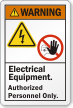 Electrical Equipment Authorized Personnel Only ANSI Warning Label