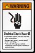 Electrical Shock Hazard Disconnect Power ANSI Warning Label