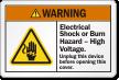 Electrical Shock Or Burn Hazard, High Voltage Label